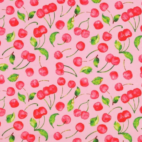 Baumwolle ~ Kirschen auf Rosa