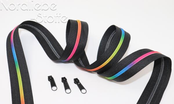 Endlosreißverschluss 3mm Regenbogen incl. Zipper