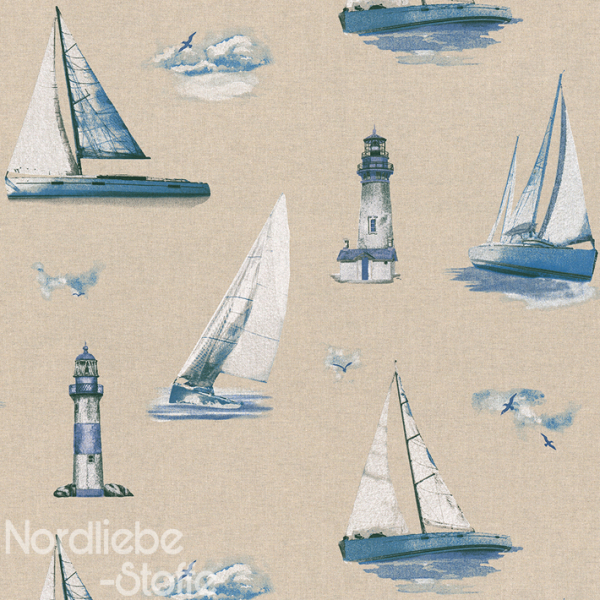 Dekostoff ~ Leinenoptik Segelboote & Leuchtturm