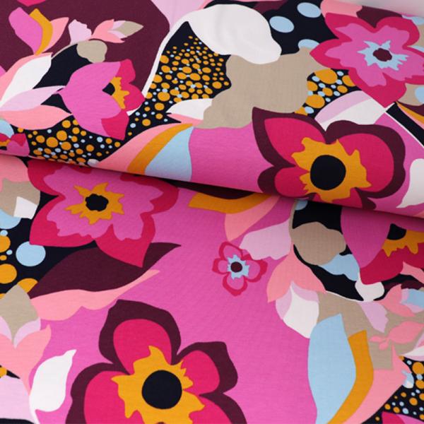 Jersey ~ Bunte Blumen Retro auf Pink Rosa