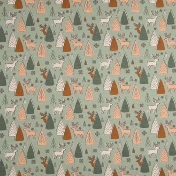 Jersey ~ Hirsche im Wald auf Grün