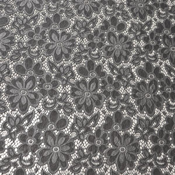 Spitze ~ elastisch mit Blumen Dunkelgrau