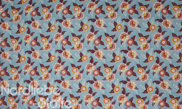 GOTS Organic Baumwolle ~ Blumenblüten Blau