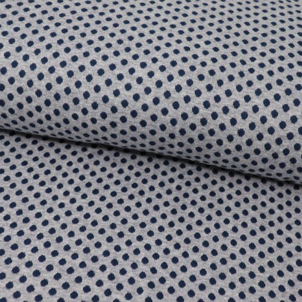 Jaquard Bündchen ~ Punkte Blau auf Hellgrau meliert