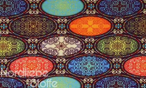 Digital Jersey ~ Ornamente oval Farbenmix 1,5 m LETZTES Stück
