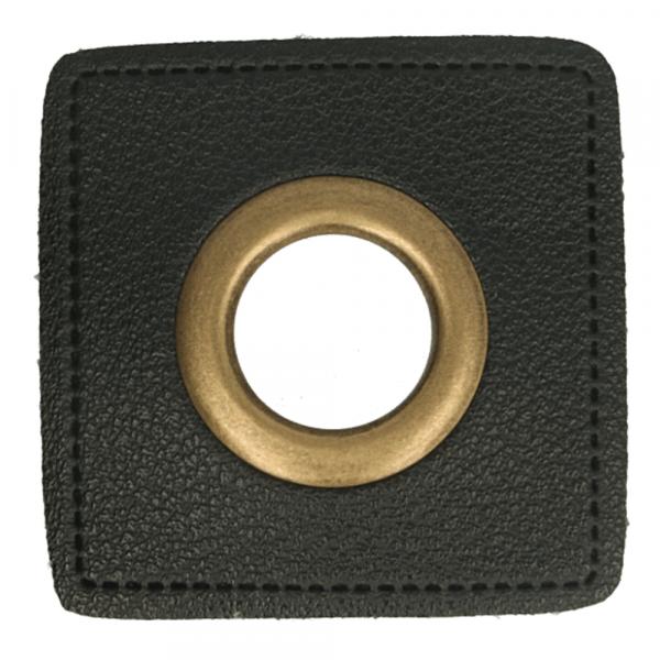 Ösen Patches ~ schwarzes Quadrat 11mm bronze
