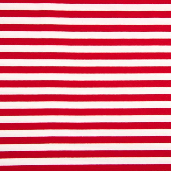French Terry ~ Streifen Rot - Weiß