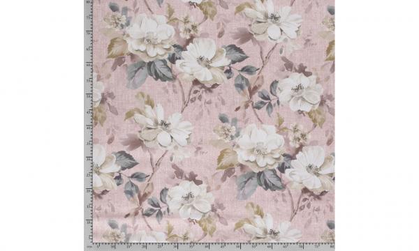 Dekostoff ~ Leinenoptik Blumen Rosa