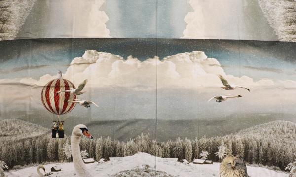 Jersey Panel ~ Schwäne im Heißluftballon (15)