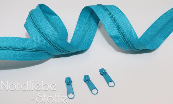 Endlosreißverschluss 3mm türkis incl. Zipper