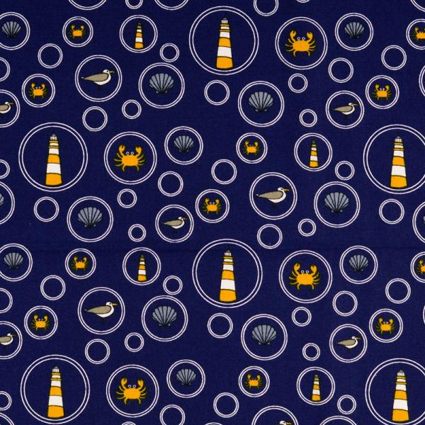 Baumwolle ~ Maritime Motive in Seifenblasen Blau Gelb