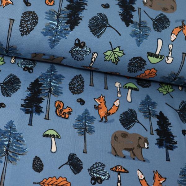 Jersey ~ Waldtiere - Fuchs, Bär & Eichhörnchen Blau