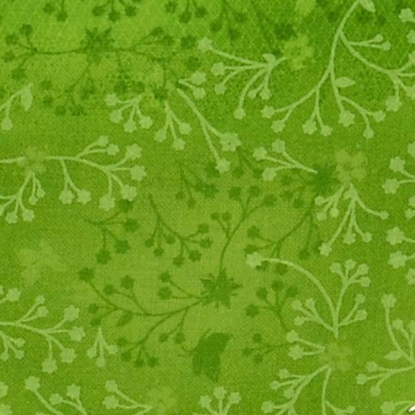 Baumwolle ~ India Blumen Batik Grasgrün