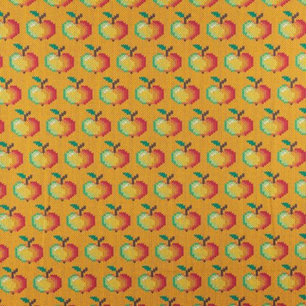 Jersey ~ Äpfel Strickoptik Ocker
