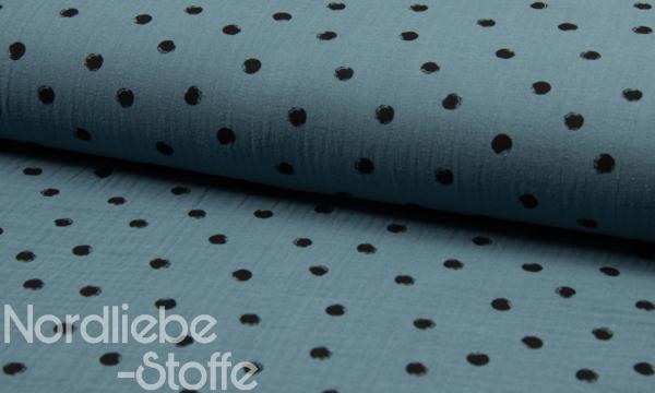 Musselin ~ Dots auf Jeansblau