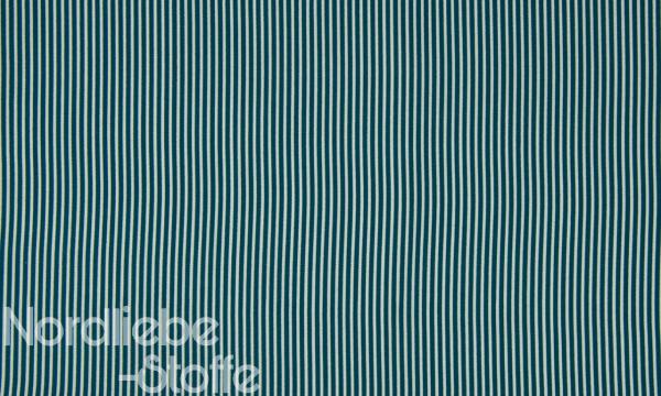 Baumwolle ~ zarte Streifen Petrol Weiß