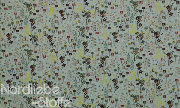 Baumwolle ~ Blumen auf Grün 1m LETZTES Stück
