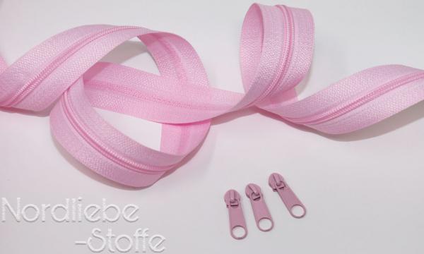 Endlosreißverschluss 3mm rosa incl. Zipper