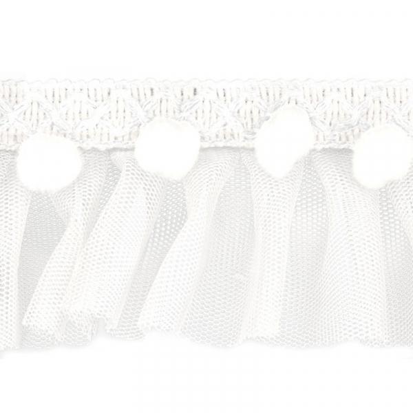 Pompom Rüschenband Weiß