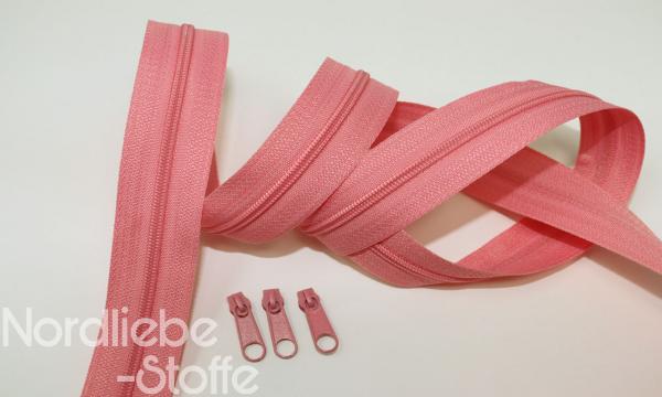 Endlosreißverschluss 3mm bubblegum incl. Zipper