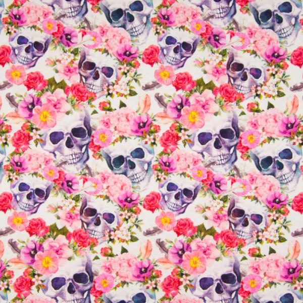 Digital Jersey ~ Totenköpfe Blumen Fuchsia