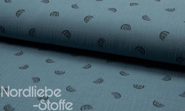 Musselin ~ Regenbogen auf Jeansblau