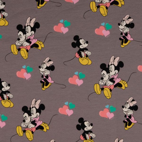 Lizenz Walt Disney Jersey ~ Minnie Mouse & Mickey Mouse spielend Grau