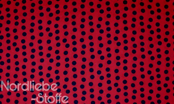 Baumwolle Mischgewebe ~ Schwarze Punkte auf Rot