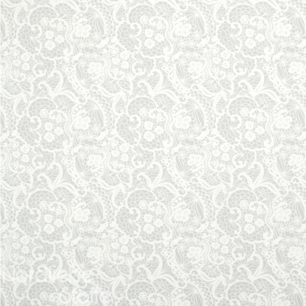 Dekostoff ~ weiße Spitzenoptik auf Grau