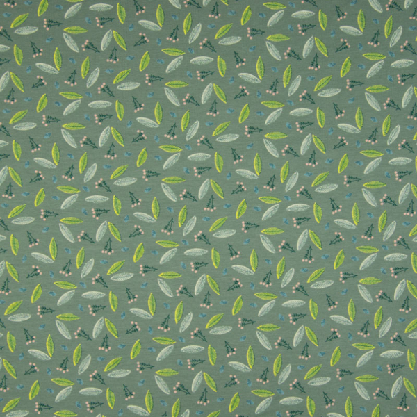 Jersey ~ Eukalyptusblätter auf Grün