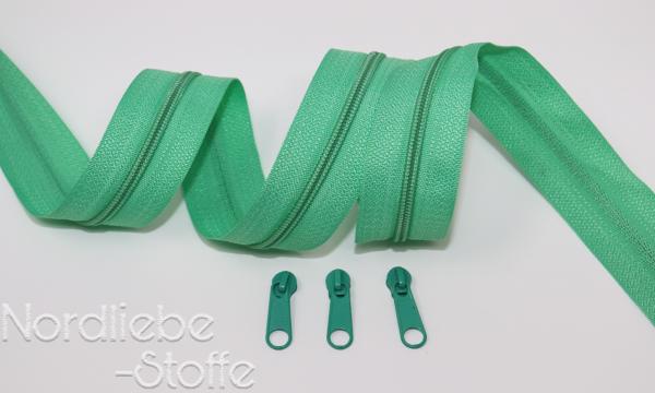 Endlosreißverschluss 3mm blassgrün incl. Zipper