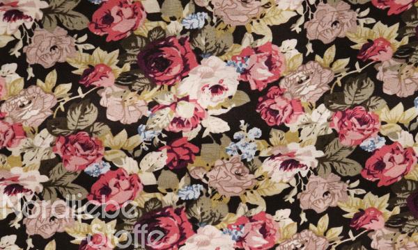 Baumwolle ~ Rosen auf Schokobraun