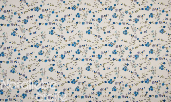 SOFT Digital Baumwolle ~ Vögel & Kornblumen blau
