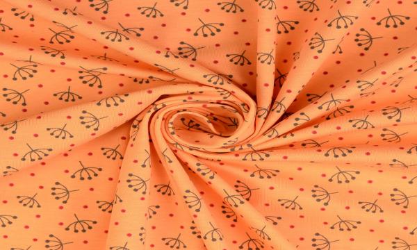 Jersey ~ Retroblume & rote Pünktchen auf Light Orange