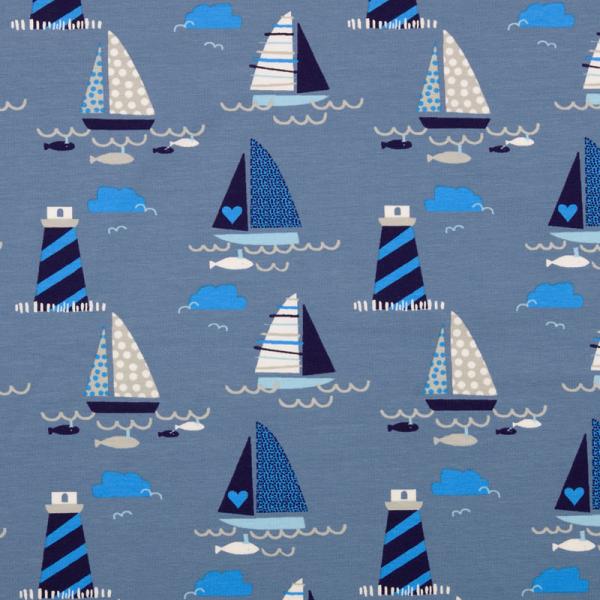 Jersey ~ Leuchtturm & Segelboote Jeansblau