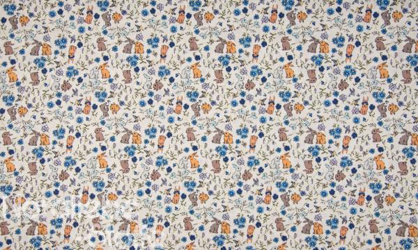 SOFT Digital Baumwolle ~ Hasen & Kornblumen blau