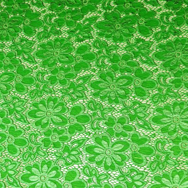 Spitze ~ elastisch mit Blumen Grün