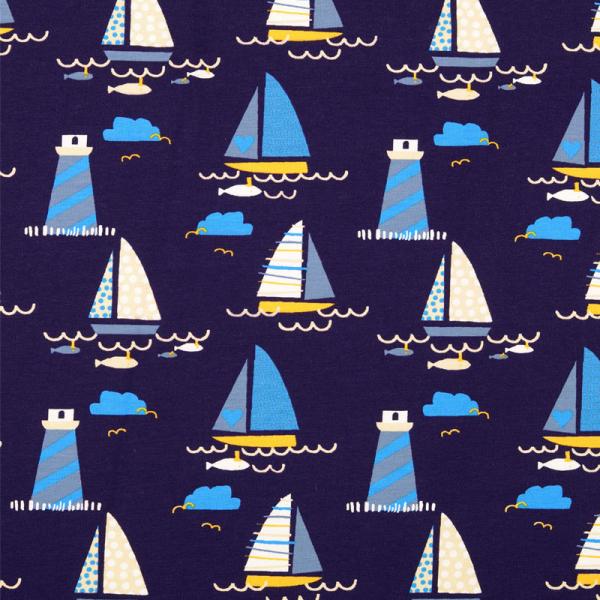 Jersey ~ Leuchtturm & Segelboote Blau Gelb