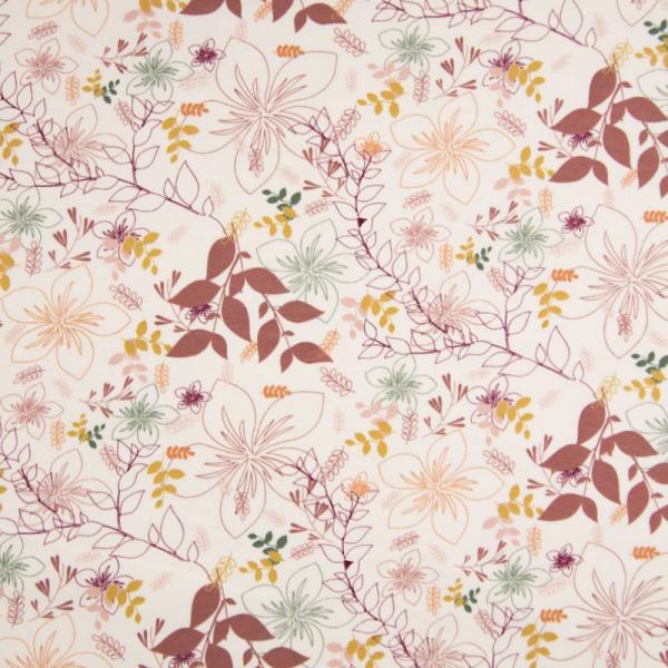 ORGANIC French Terry ~ bunte Blumenwelt auf Offwhite