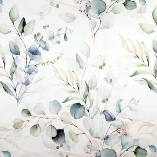 ORGANIC French Terry ~ Blätter & Blumen Grün