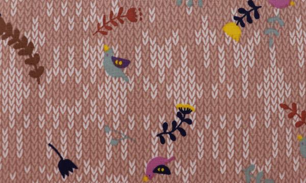 Jersey ~ Strickoptik kleine Vögelchen Lachs