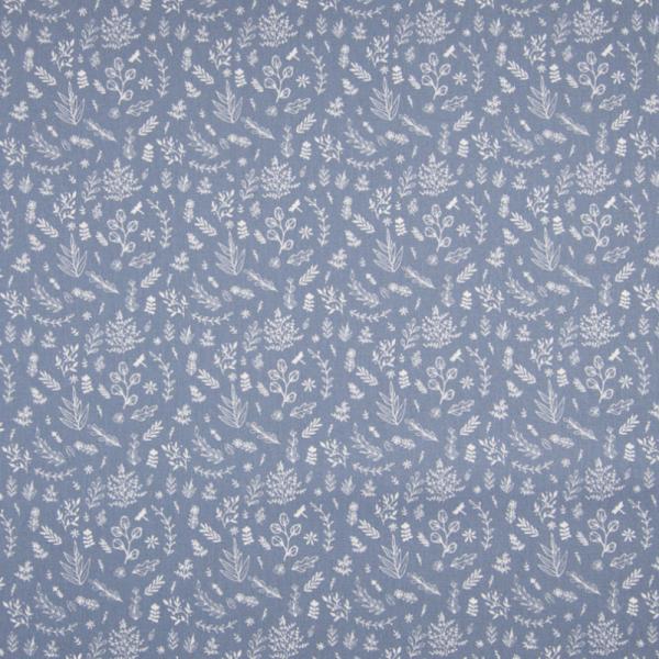 Baumwolle ~ kleine Blätter & Zweige Blau