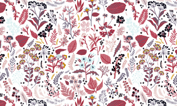 ORGANIC Baumwolle ~ Blumen Blätter & Zweige bordeaux rot