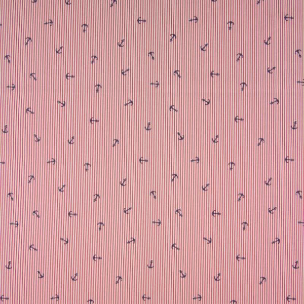 Baumwolle ~ Anker Rot gestreift