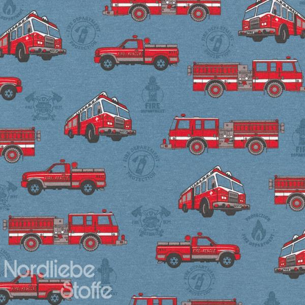 Dekostoff ~ Feuerwehr auf Blau