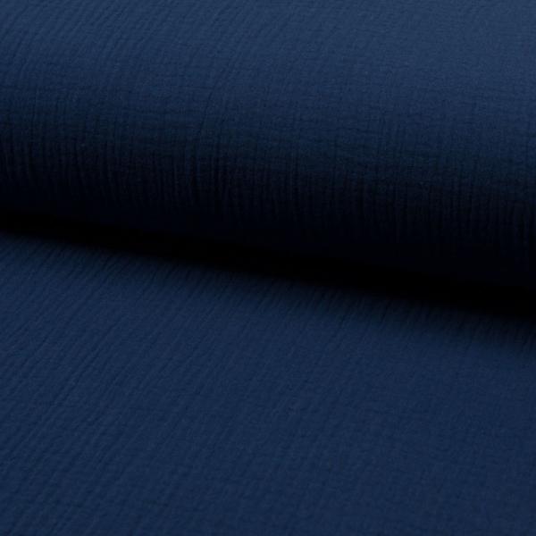 Musselin ~ Double UNI Jeansblau Dunkel