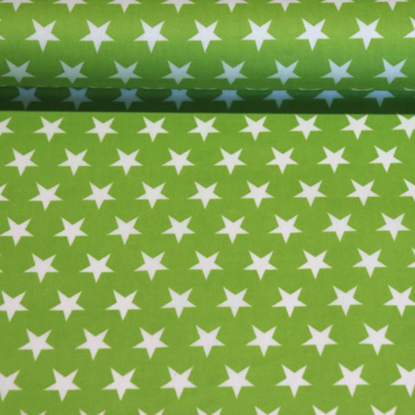beschichtete Baumwolle ~ weiße Sterne auf Grün