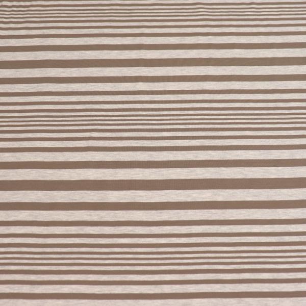 Jersey ~ Streifen Taupe - Grau meliert