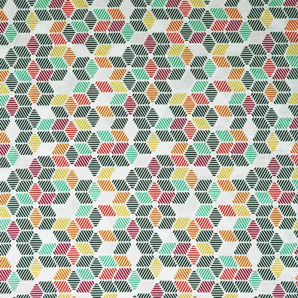 GOTS Organic Baumwolle ~ Print Cube Grün