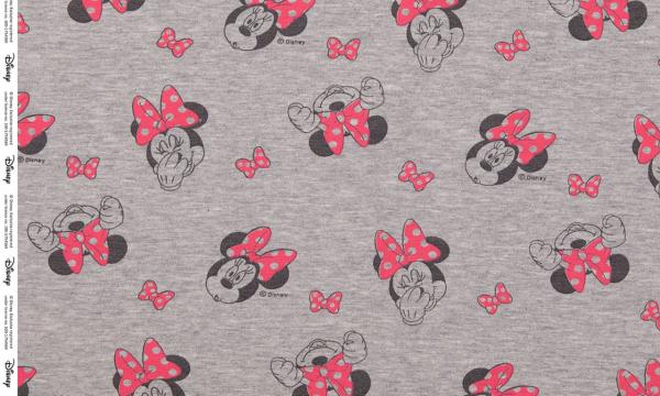 Lizenz Walt Disney French Terry ~ Minnie Maus Grau Rot